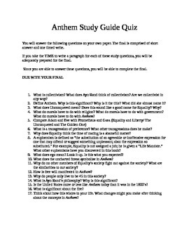 Anthem - Novel Study Guide