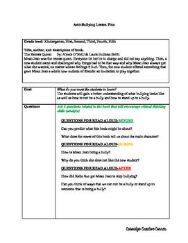 Anti-Bullying Lesson Plan