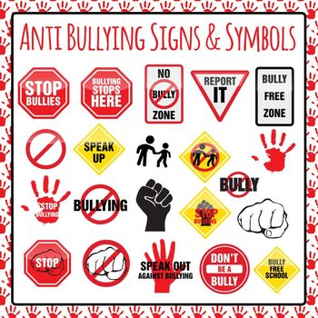 Anti Bullying Signs Symbols and Icons Clip Art Pack for Co