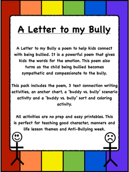 Anti Bullying poem, 3 writing connections, and 2 bully or