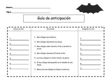 Anticipation Guide on Bats (Spanish)