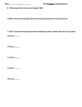 Antigone--Comprehension Questions for Part III