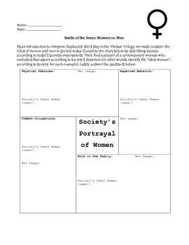 Antigone Pre-Reading Worksheets- Evaluating Gender Roles a