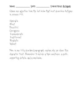 Antigone characterization paragraph