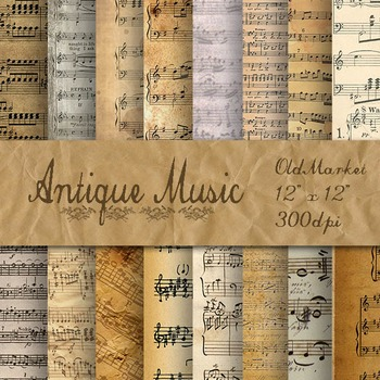Antique Music Digital Paper Pack - 16 Different Papers - 1