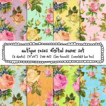 Antique Roses Digital Paper, Floral Patterns Digital Backg