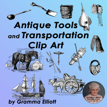 Transportation and Tools Clip Art - Vintage Style
