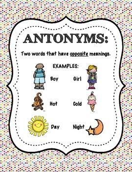 Antonym Anchor Chart