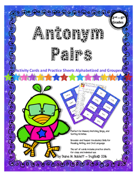 Antonym Cards for 3rd-5th Grades