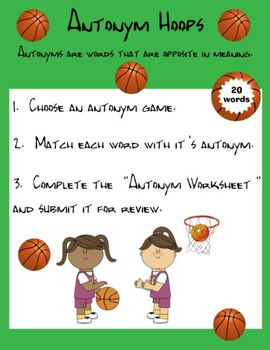 Antonym Hoops!  A fun antonym basketball game for centers.