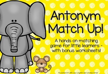 Antonym Match Up! A hands on matching game - with bonus wo
