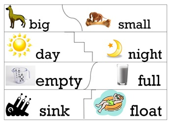 Antonym - Opposites matching cards and worksheet
