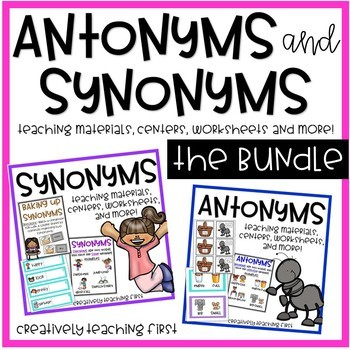 Antonym and Synonym Centers and No Prep Worksheets