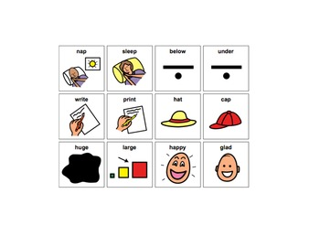 Antonym and Synonym flash cards and work sheets