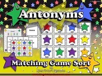 Antonyms: Antonyms Matching Game Sort - King Virtue's Classroom