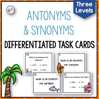 Antonyms Synonyms Task Cards
