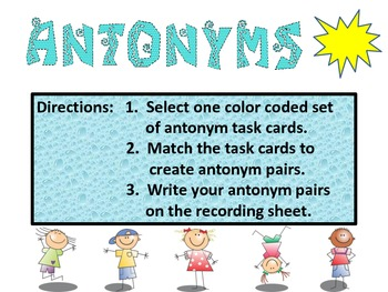 Antonynms!  Great for reading and writing! Orange Set.