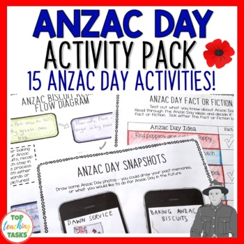 Anzac Day Print and Go Activity Pack - 10 Engaging ELA Res