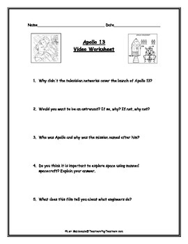 Space Exploration: Apollo 13 Video Worksheet