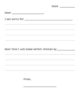 Apology Letter (Sentence Frames)