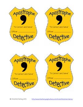 Apostrophe Detective Badge Award