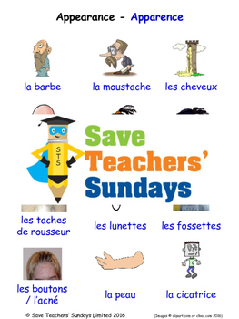 Appearance in French Worksheets, Games, Activities and Fla