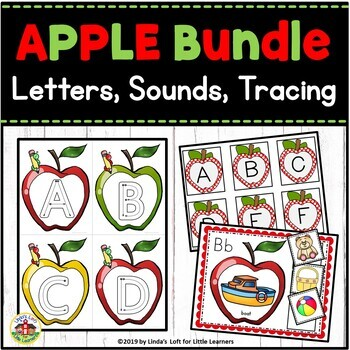 Apple ABC Flashcards and Beginning Sounds Bundle