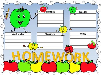 Apple Antics Homework Wall Chart and Matching Take Home Sheets