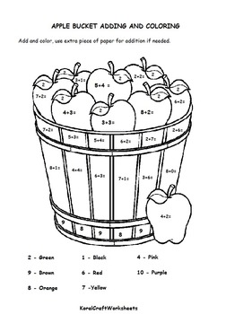 Apple Basket Addition and Coloring