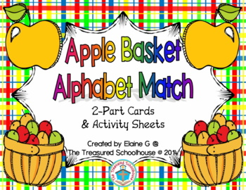 Alphabet ABC Match 2-Part Cards with Apples