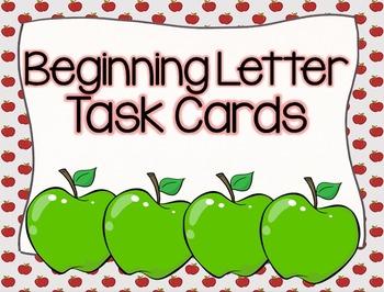 Apple Beginning Letter Task Cards