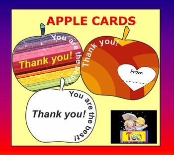 Apple Cards for Teachers - Coloring Activities - Clipart -