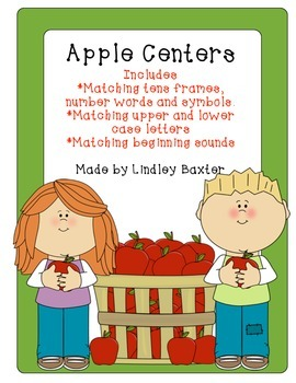 Apple Centers: Tens Frames, Beginning Sounds, Letter Matching