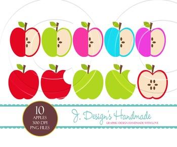 Apple Clipart Set - Apples - Green Apple- Red Apple - Teac