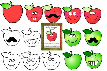 Apple Clipart - Silly Apples - Apples with Faces- Commercial Use