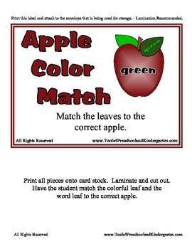 Apple Color Match - 12 Shades - Teach colors and color words