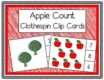 Apple Clothespin Count Clip Cards (Freebie!)