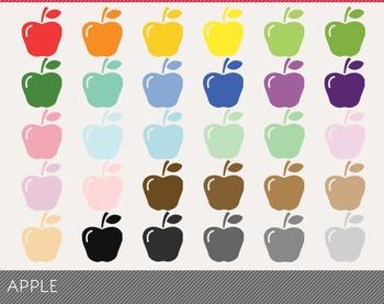 Apple Digital Clipart, Apple Graphics, Apple PNG, Rainbow