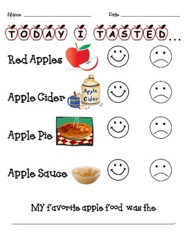 Apple Food Taste Test {Printable Response Sheet}