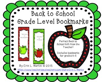Apple Grade Level Bookmarks