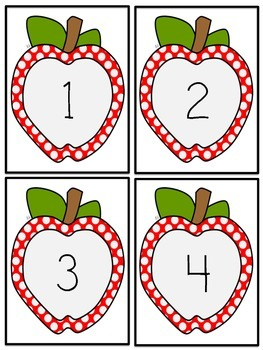 Number Flashcards 1-40 Apple Motif