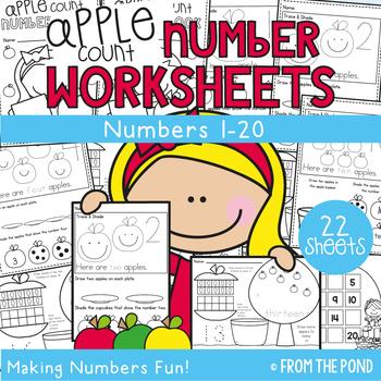 Apple Number Worksheets