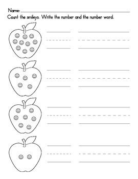 Apple Numerals Worksheet