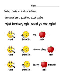 Apple Observations- modified literacy & science, special e