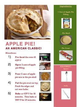 Apple Pie Recipe with Follow Up Activity!