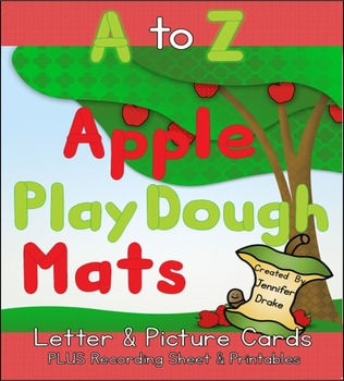 Apple Play Dough Mats For A to Z!  Letter & Picture Mats P