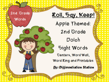 """Apple """"Roll, Say, Keep!"""" 2nd Grade List Dolch Sight Word C"""