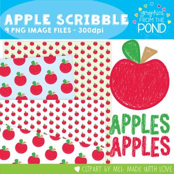 Apple Scribble Clipart Set