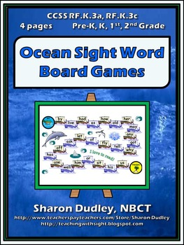 Ocean Sight Word Board Games