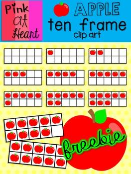 Apple Ten Frame Clip Art FREEBIE